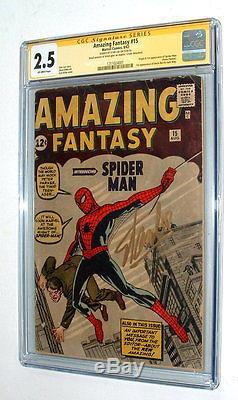 1962 Amazing Fantasy #15 Comic Book Signature Series Stan Lee Signed Cgc 2.5
