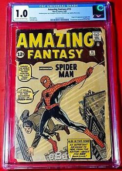 1962 Marvel Comics Amazing Fantasy #15 Cgc 1.0 Cr/ow Unrestored 1st Spider-man