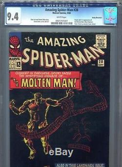 1965 Marvel Amazing Spider-man 28 1st Molten Man Cgc 9.4 Rocky Mountain Pedigree
