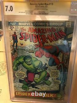 1973 Amazing Spider-man #119 Cgc 7.0 Ss Signed By Stan Lee Spidey Vs The Hulk