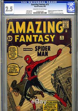 AMAZING FANTASY #15 CGC 2.5 HOLY GRAIL 1st App Of SPIDER-MAN! NOT PRESSED