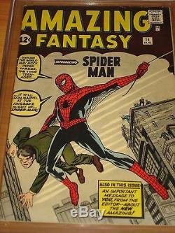AMAZING FANTASY #15 CGC 4.5 VG+ (1st App. Spider-Man OWithW No Mvl Chipping)