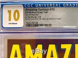 AMAZING FANTASY #15 Silver Foil GEM MINT CGC 10.0 LE/1000 2018 COA SOLD OUT