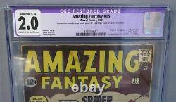 AMAZING FANTASY #15 (Spider-Man 1st appearance) CGC 2.0 GD Marvel Comics 1962
