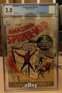 AMAZING SPIDER-MAN #1 CGC 3.0 (J Jonah Jameson & Chameleon 1st app Marvel 1963)
