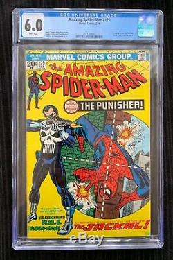 AMAZING SPIDER-MAN #129 CGC 6.0 WHITE PAGES 1st PUNISHER