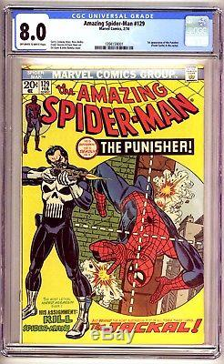 AMAZING SPIDER-MAN #129 CGC 8.0, 1st PUNISHER app! Marvel Comics 1974