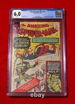 AMAZING SPIDER MAN 14 CGC 6.0 1st Appearance GREEN GOBLIN 7/64 WHITE PAGES! HULK
