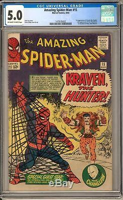AMAZING SPIDER-MAN #15 CGC 5.0 1st Appearance of Kraven the Hunter (Marvel 1964)