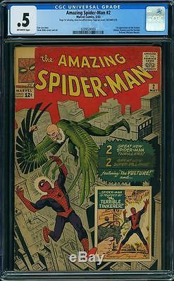 Amazing Spider-man #2 Cgc. 5 1st Appearance Vulture 1963 Marvel Silver Mega Nr