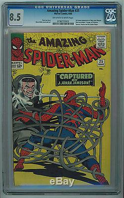 AMAZING SPIDER-MAN #25 CGC 8.5 DITKO COVER HIGH GRADE OWithW PGS 1965