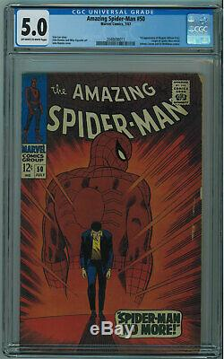 AMAZING SPIDER-MAN #50 CGC 5.0 1ST KINGPIN OWithW PGS 1967