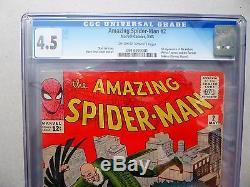 AMAZING SPIDERMAN 2# CGC 4.5 MARVEL 1963 STAN LEE / DITKO Origin 1st Vulture