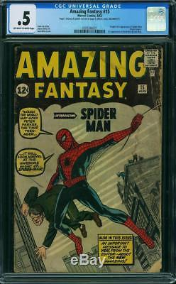 Amazing Fantasy 15, 1962, CGC 0.5 Unrestored, 1st Spider-man