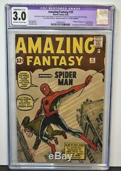 Amazing Fantasy #15 1962 CGC Graded 3.0 RESTORED 1st Spider-Man Lee Ditko Kirby