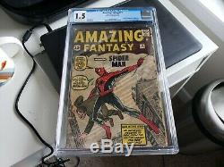 Amazing Fantasy #15 1962 CGC Universal 1.5 GD- CR/OW Pages Gigantic Key Spidey