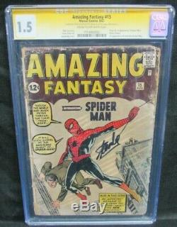 Amazing Fantasy #15 1962 Key 1st Appearance Spider-Man CGC 1.5 SS Stan Lee DM000