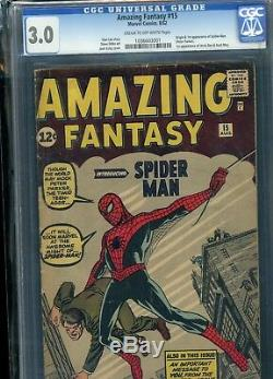 Amazing Fantasy 15 1st Spider-Man CGC Graded and Sealed 3.0 KEY SILVER AGE BOOK