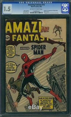Amazing Fantasy 15 CGC 1.5 OWithW Pages