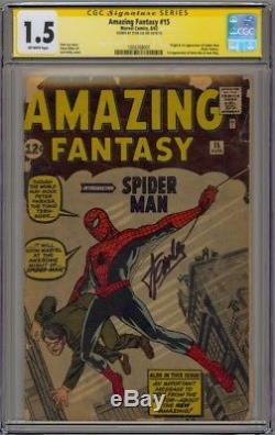 Amazing Fantasy #15 CGC 1.5 SS Stan The Man Lee Off-White Pages 1st Spider-Man