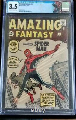 Amazing Fantasy #15- CGC 3.5, 1st Appearance of Spiderman, OFF WHITE TO WHITE