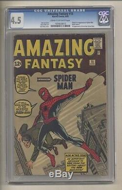 Amazing Fantasy 15 (CGC 4.5) C-O/W pgs Origin/1st app. Spider-Man Ditko Kirby