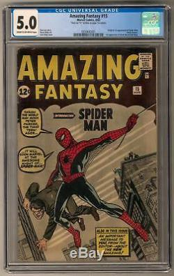 Amazing Fantasy #15 CGC 5.0 (C-OW) Signed 1st Spider-Man Appearance