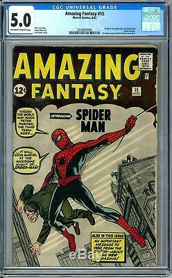 Amazing Fantasy #15 CGC 5.0 (OW-W) Origin & 1st appearance of Spider-Man Peter