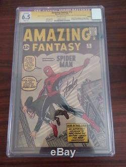 Amazing Fantasy #15 CGC 6.5 (R) Stan Lee Signature Series! 1st Spider-Man! E7 cm