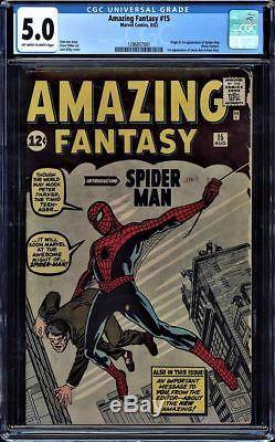 Amazing Fantasy #15 Cgc 5.0 Oww Pages Origin & 1st App Spider-man #1296857001