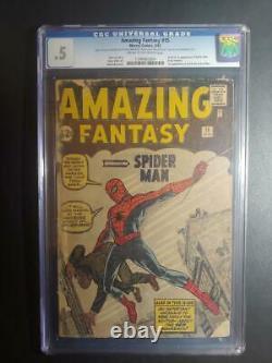 Amazing Fantasy #15 Cgc. 5 1st App. Of Spider-man / New Case! //1962