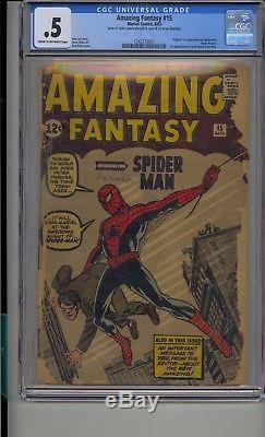Amazing Fantasy #15 Cgc. 5 Origin 1st App Spider-man Uncle Ben Aunt May Complete