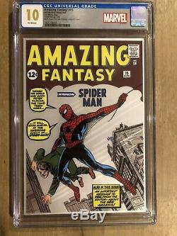 Amazing Fantasy #15 Silver Foil Rare Cgc 10.0 First Release Coa# 0016/1000