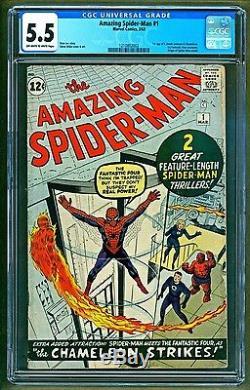 Amazing Spider-Man #1 (1963 Marvel) 1st appearance Chameleon JJ Jameson CGC 5.5