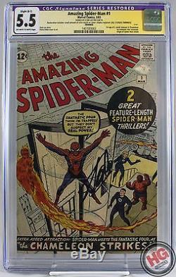 Amazing Spider-Man #1 3/63 CGC 5.5 B1 SS Stan Lee Fantastic Four J Jonah Jameson