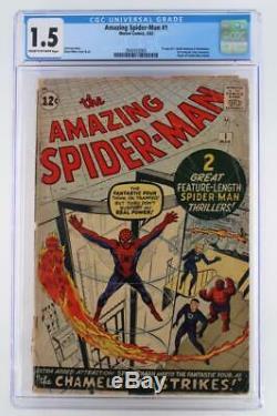 Amazing Spider-Man #1 CGC 1.5 FR/GD -Marvel 1963- 1st App JJJ & Chameleon