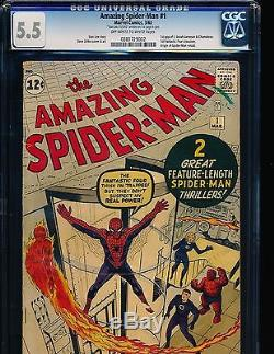 Amazing Spider-Man # 1 Stan Lee signature 1st page CGC 5.5 OWWHITE Pgs