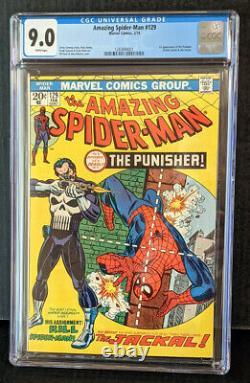 Amazing Spider-Man #129 CGC 9.0 1974 1st Punisher! White Pages! Major KEY