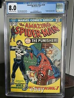 Amazing Spider-Man 129 cgc 8.0 First Appearance of The PUNISHER