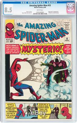 Amazing Spider-Man #13 CGC 8.5 1964 1st Mysterio! White Pages! E5 123 cm clean