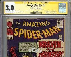 Amazing Spider-Man #15 CGC 3.0 GD/VG SIGNED STAN LEE Marvel Comics 1st Kraven