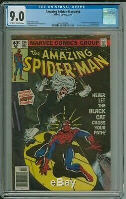 Amazing Spider-Man 194 CGC 9.0 OWithW KEY 1st Black Cat Marvel Newsstand 1979