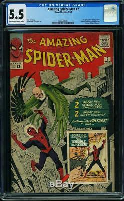 Amazing Spider-Man #2 CGC 5.5 1963 1st Vulture! Key Silver Age! G8 301 cm