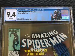 Amazing Spider-Man 252 CGC 9.4 NM White Pages 1st Black Costume NEW VENOM label