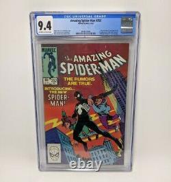 Amazing Spider-Man #252 CGC 9.4 WHITE/OW Pages 1st Black Suit (Venom)