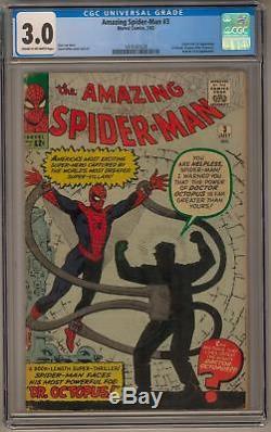 Amazing Spider-Man #3 CGC 3.0 (C-OW) Origin and 1st Dr. Octopus