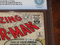 Amazing Spider-Man #5 CBCS NM- 9.2 1st Dr. Doom vs Spidey! OWithW Pages! Not CGC