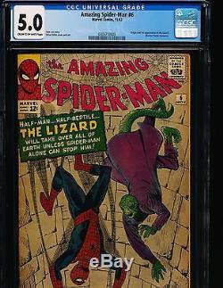 Amazing Spider-Man # 6 1st Lizard CGC 5.0 CREAM/OW Pgs