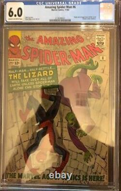 Amazing Spider-Man 6 CGC 6.0. 1st Lizard! Silver Age Mega Key