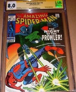 Amazing Spider-Man 78 CGC SS 8.0 SIGNED John Romita Sr Marvel 1st Prowler Origin